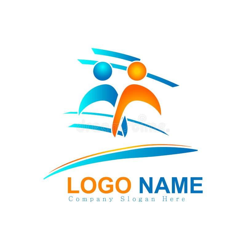 Logotipos dos povos coloridos junto, novo conceito da equipe, cuidado logotipo do vetor da cultura da família ilustração royalty free