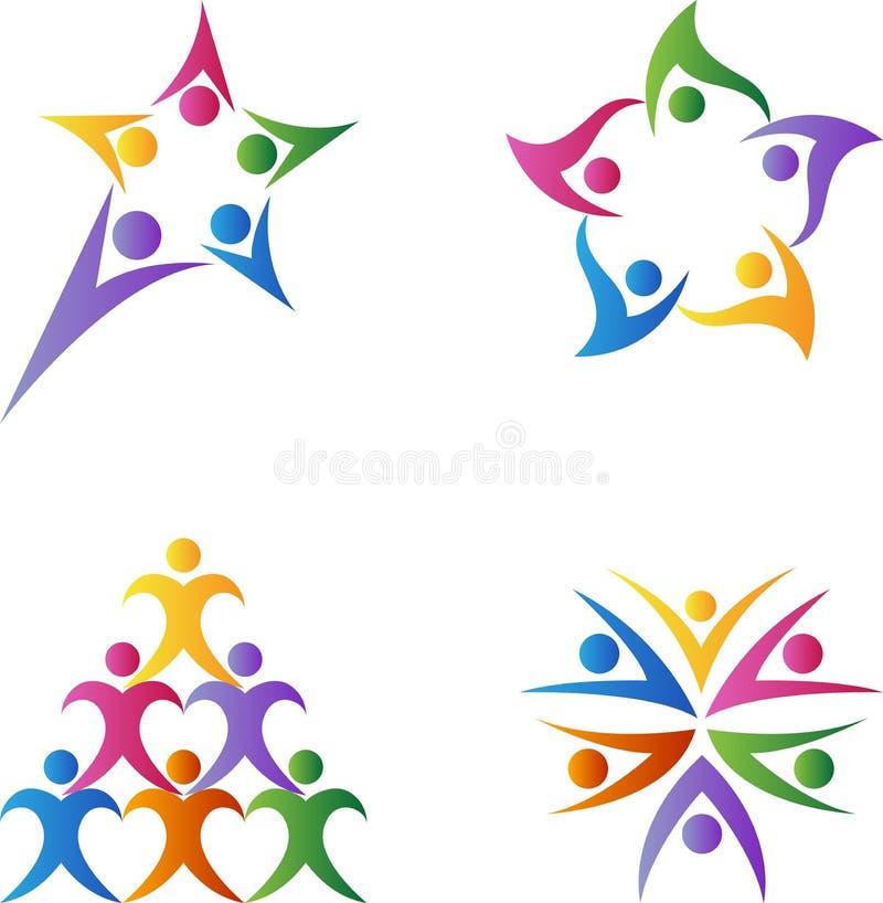 Logotipos dos trabalhos de equipa ilustração royalty free