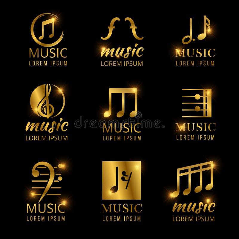 Logotipos dourados brilhantes do vetor da música ajustados ilustração stock