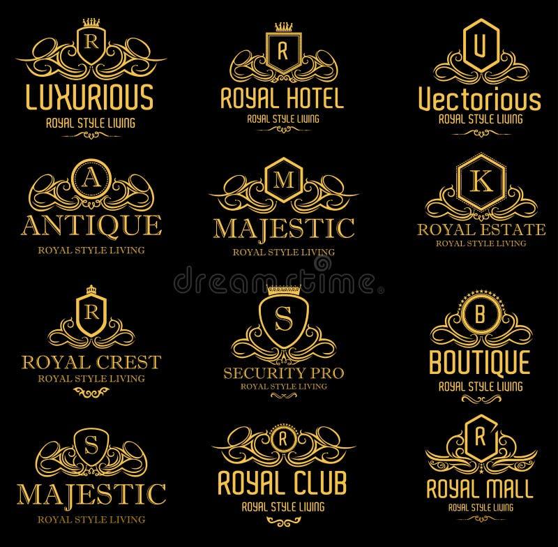 Logotipos dourados reais luxuosos heráldicos ilustração royalty free