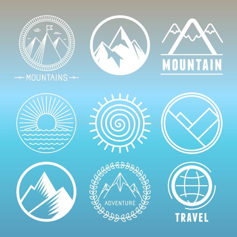 Logotipos e emblemas da montanha do vetor ilustração do vetor
