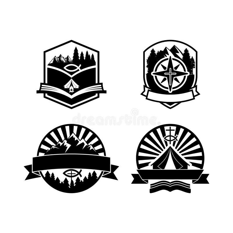 Logotipos e etiquetas cristãos dos crachás do acampamento de verão para algum uso, na textura de madeira do fundo ilustração stock