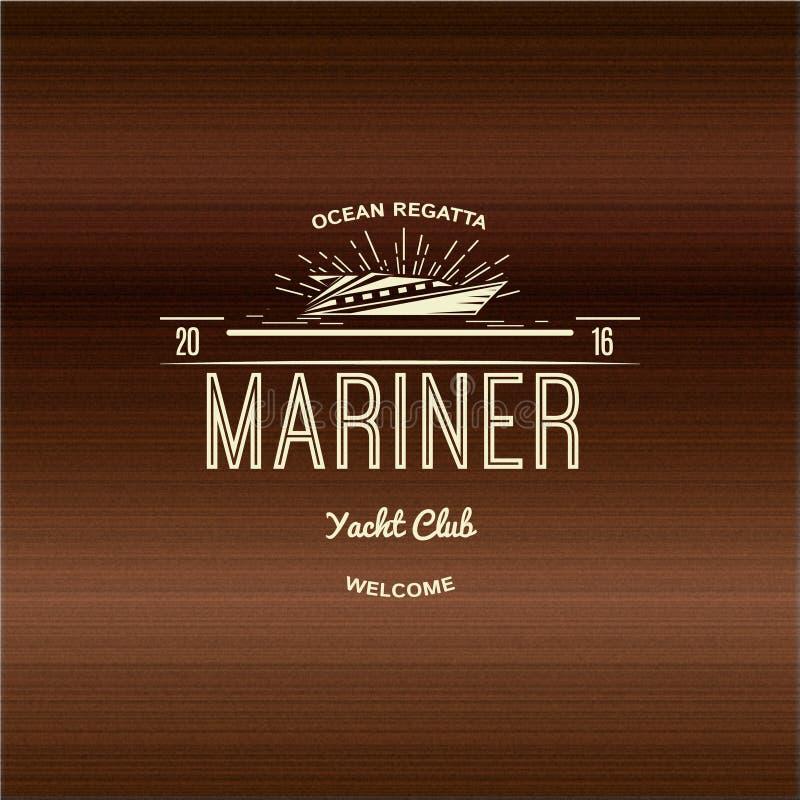 Logotipos e etiquetas dos crachás do yacht club do navegador para ilustração stock