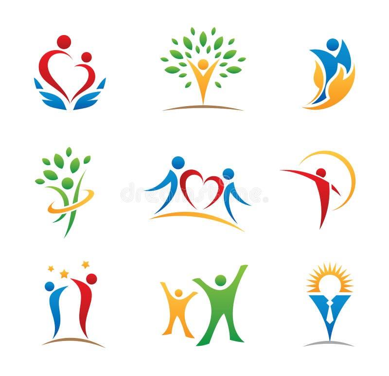 Logotipos e iconos felices de la gente fotos de archivo