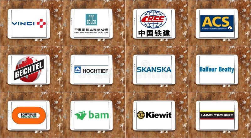 Logotipos e iconos más grandes superiores de las empresas de la construcción fotos de archivo