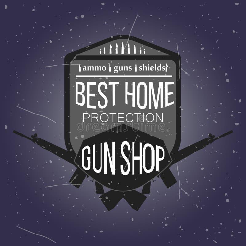 Logotipos e insignias de la tienda de armas fijados ilustración del vector