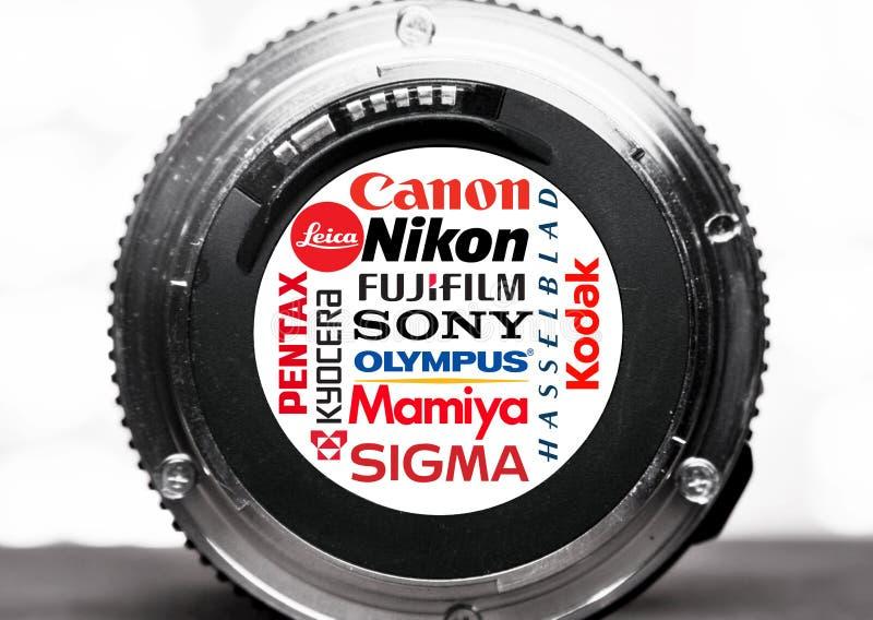 Logotipos e tipos dos fabricantes da câmera foto de stock
