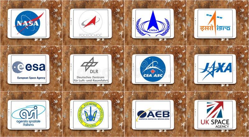 Logotipos e vetor famosos superiores das agências espaciais foto de stock