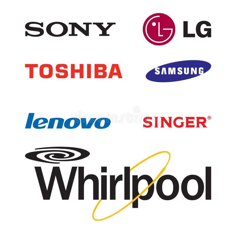Logotipos eletrônicos mundialmente famosos do tipo ilustração royalty free