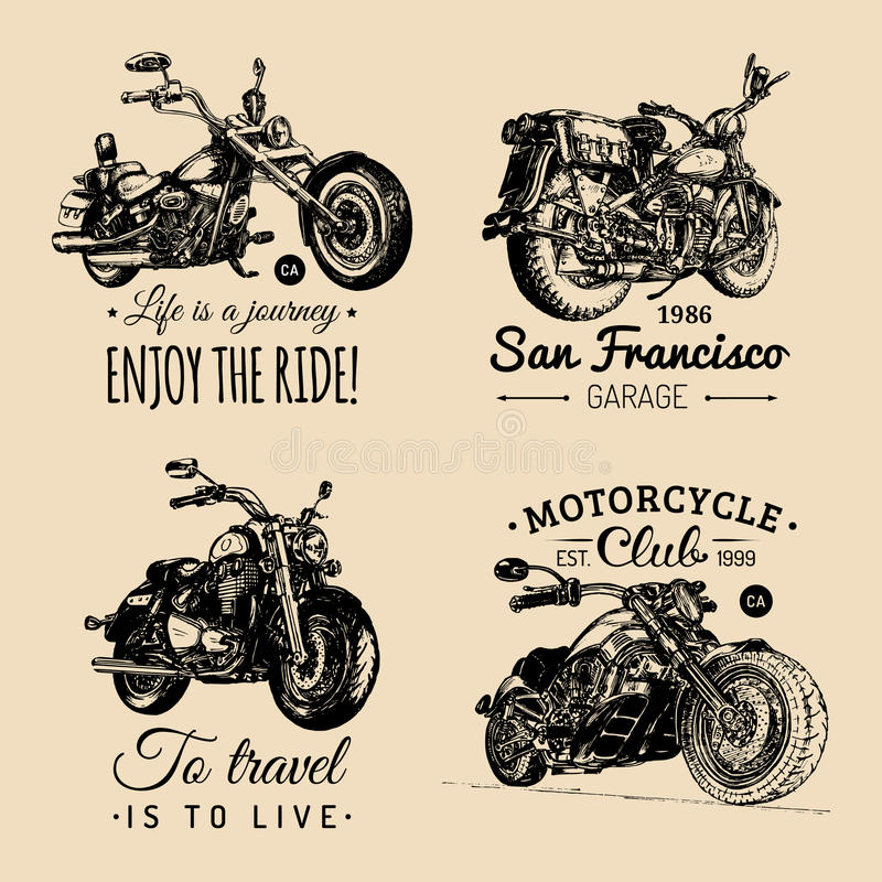 Logotipos feitos sob encomenda do interruptor inversor e da motocicleta ajustados Cartazes inspirados do vintage, coleção de cópi ilustração do vetor