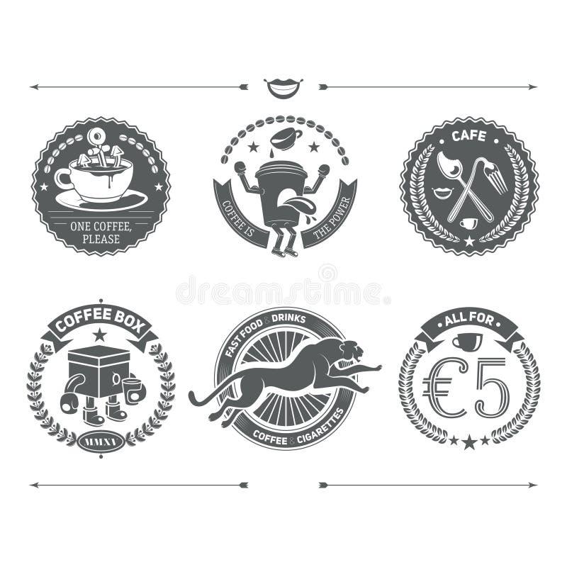 Logotipos fijados e insignias retras del vintage Elemento del diseño del vector ilustración del vector