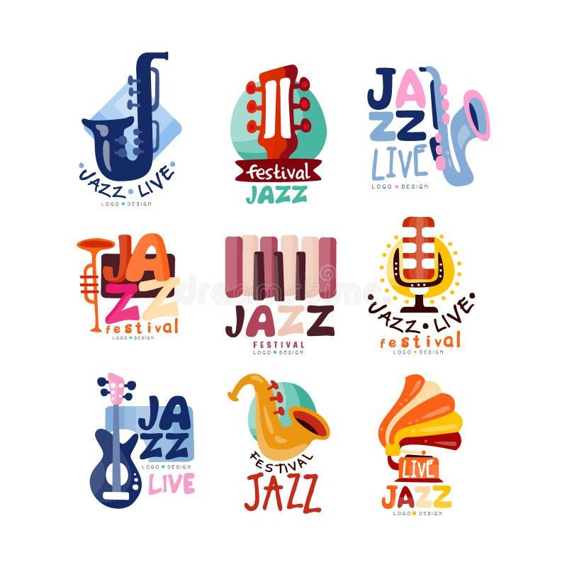 Logotipos fijados para el festival de jazz o el concierto vivo Etiquetas o emblemas musicales del evento con la guitarra, saxofón ilustración del vector