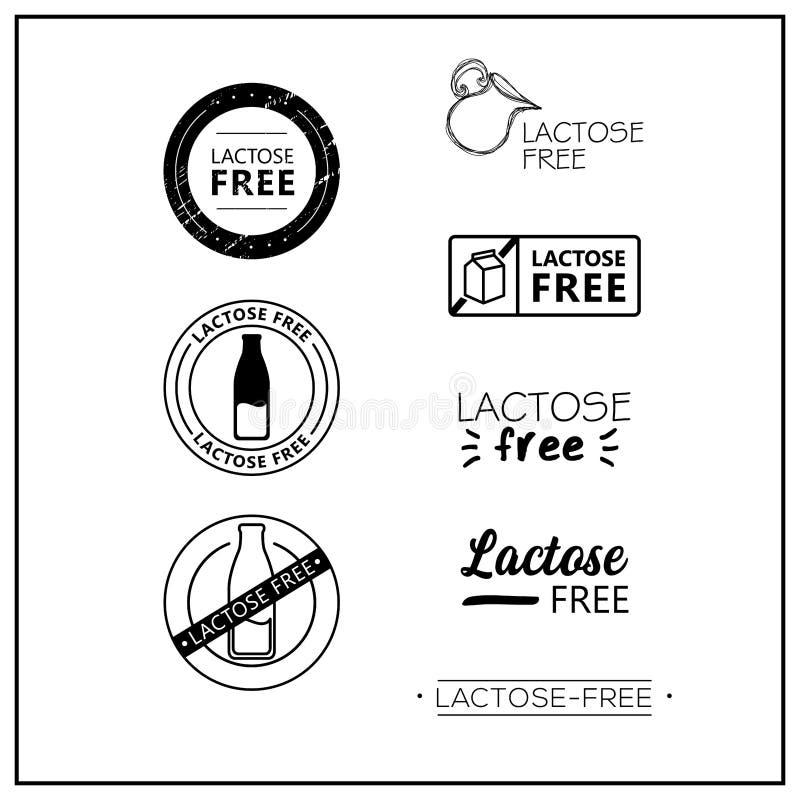 logotipos Lactose-livres do vetor ilustração royalty free