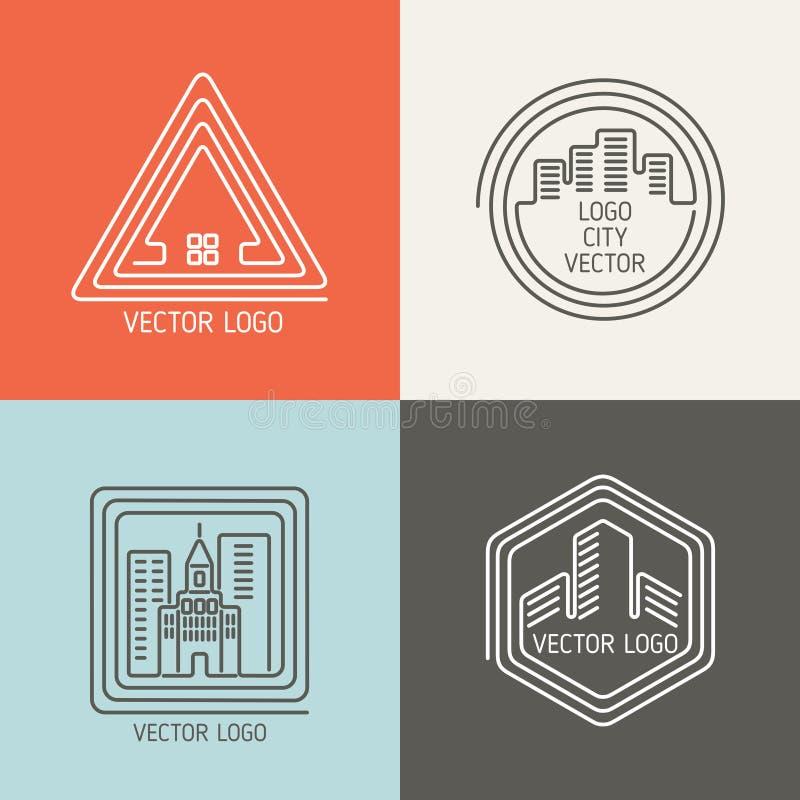 Logotipos lineares de la casa de las propiedades inmobiliarias, sistema del vector de los emblemas ilustración del vector