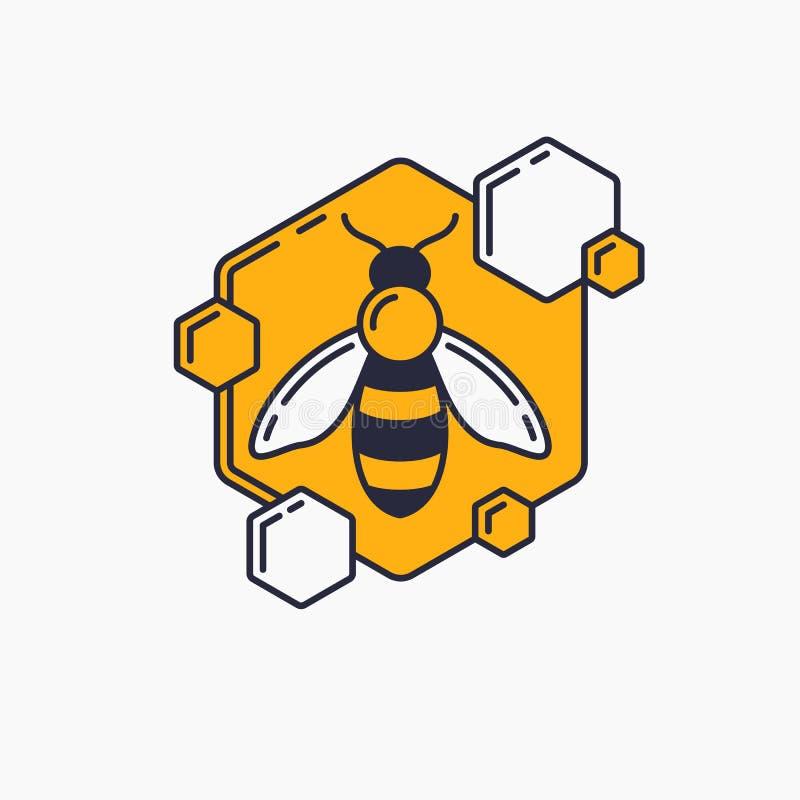 Logotipos lineares modernos para apicultor As etiquetas nos produtos do apiário Etiqueta do vetor para o mel da abelha ilustração do vetor