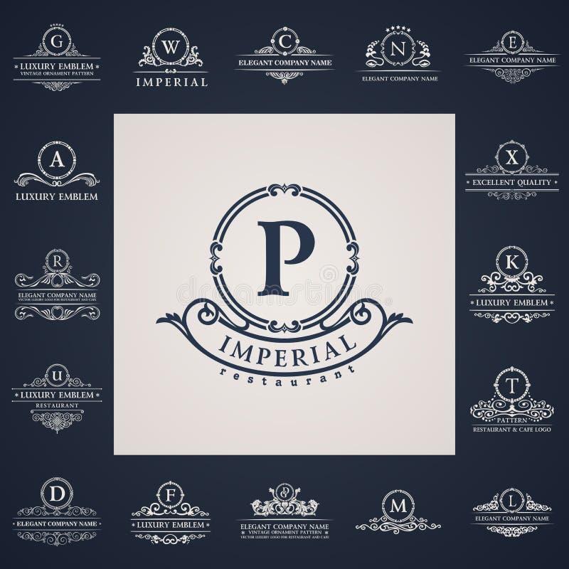 Logotipos luxuosos do vintage ajustados Letra caligráfica ilustração royalty free