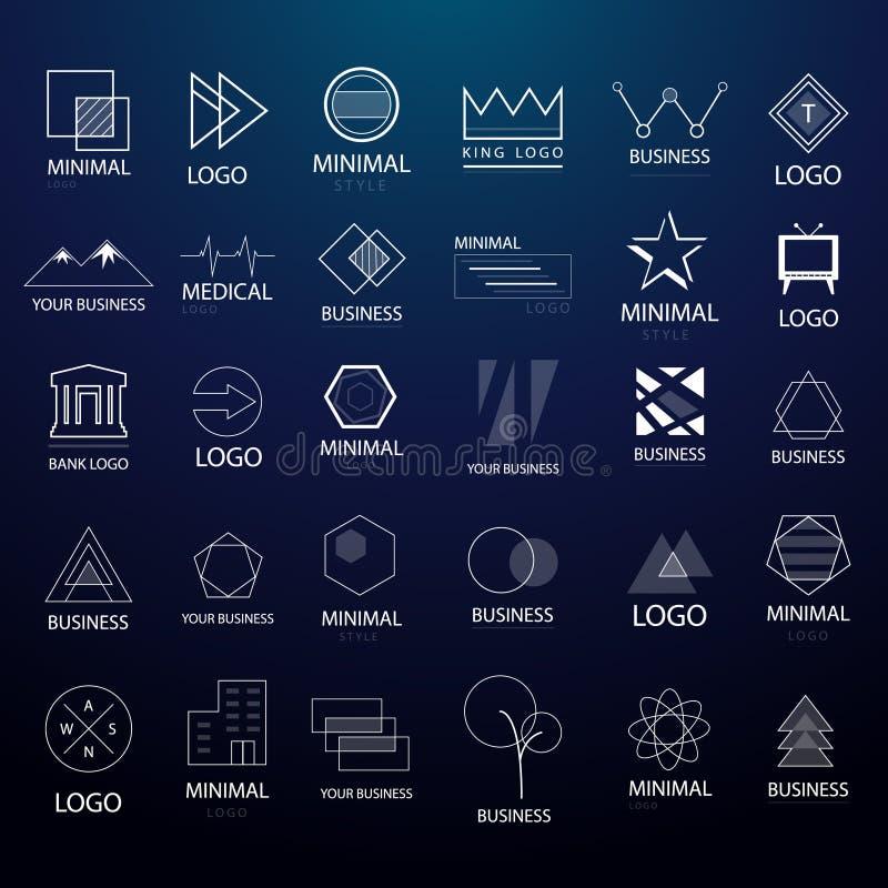 Logotipos mínimos del vintage y colección grande de las insignias línea estilo Vector syled minimalismo moderno para el uso múlti stock de ilustración