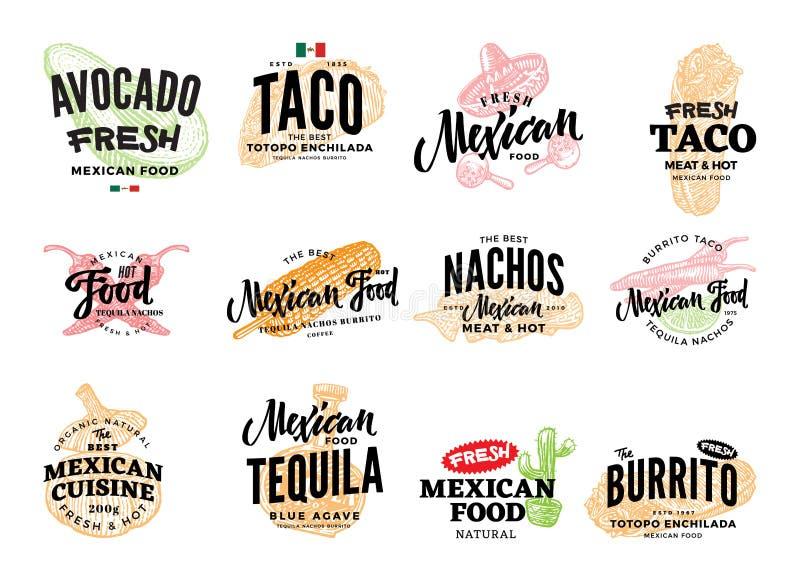 Logotipos mexicanos dibujados mano de la comida libre illustration