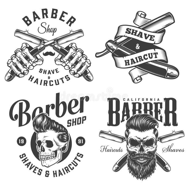 Logotipos monocromáticos de la barbería del vintage libre illustration