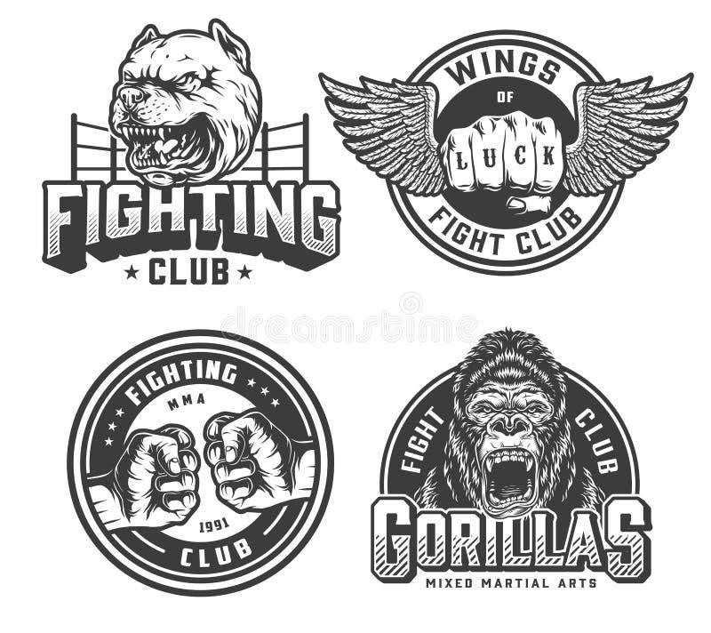 Logotipos monocromáticos del club de la lucha del vintage ilustración del vector