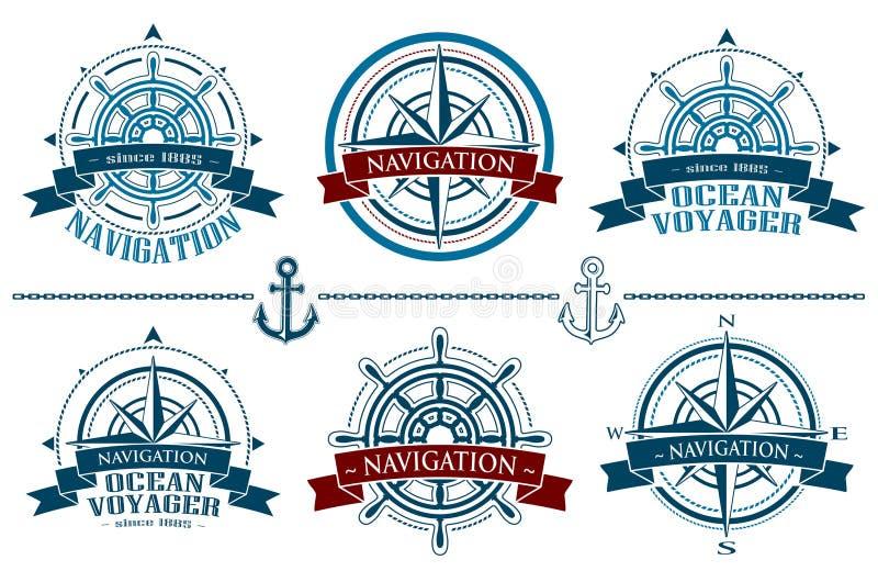 Logotipos náuticos ajustados ilustração stock