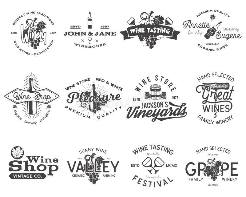 Logotipos negros del vino, sistema de etiquetas El lagar, tienda de vino, viñedos badges la colección Símbolo retro de la bebida  ilustración del vector
