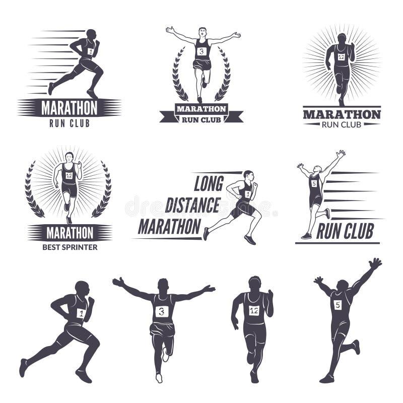 Logotipos ou etiquetas para os corredores Gráficos da maratona ilustração royalty free