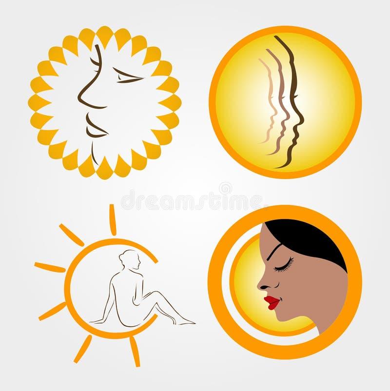 Logotipos para bronzear-se do sol ilustração royalty free