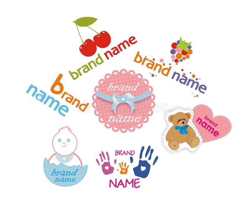 Logotipos para los productos de los niños fotografía de archivo libre de regalías