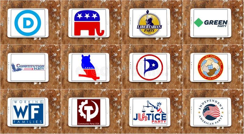 Logotipos parlamentarios e iconos del partido político de los E.E.U.U. stock de ilustración