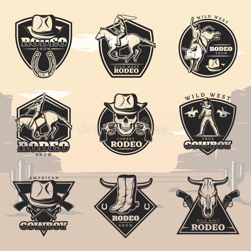 Logotipos pretos do rodeio do vintage ajustados ilustração stock