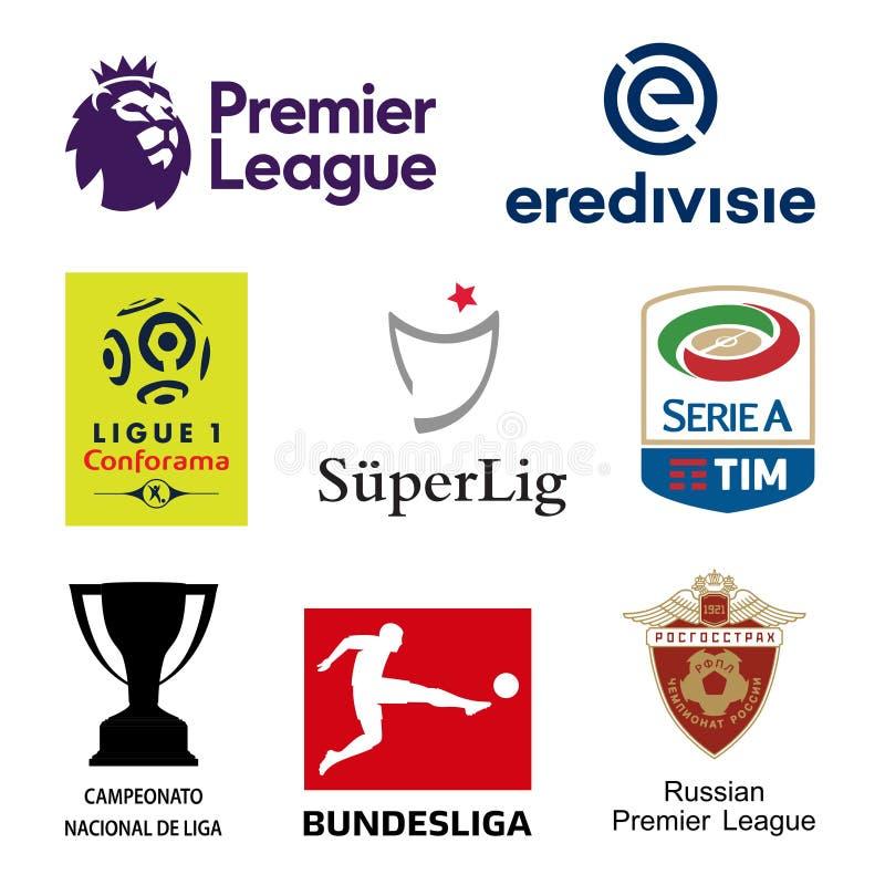 Logotipos principais das ligas nacionais do futebol do UEFA ilustração do vetor