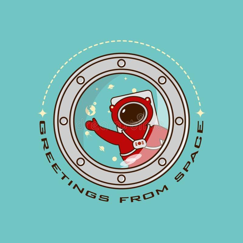 logotipos que cumprimentam do espaço, astronauta no azul do vetor de espaço ilustração stock
