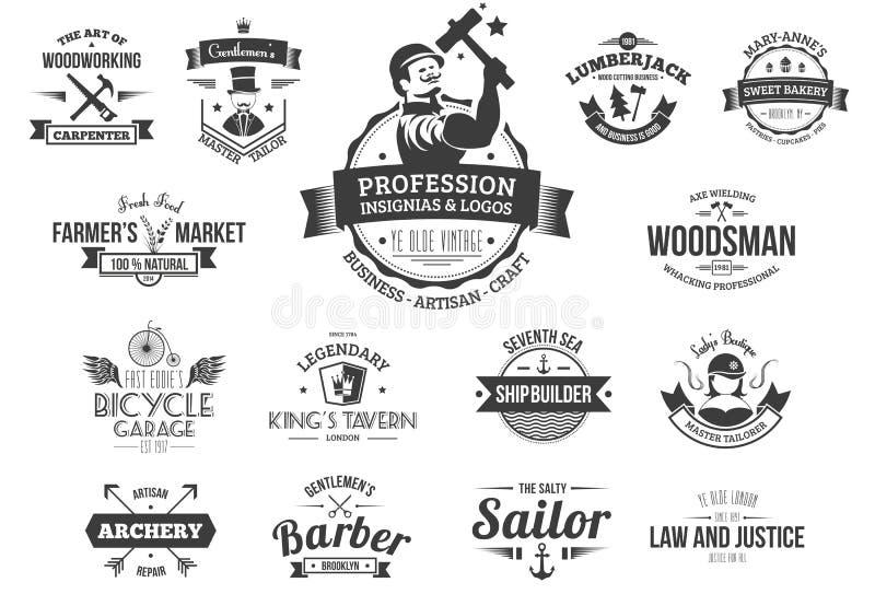 Logotipos retros da profissão ilustração royalty free