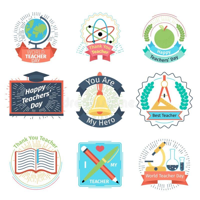 Logotipos retros do dia dos professores da cor ajustados ilustração royalty free