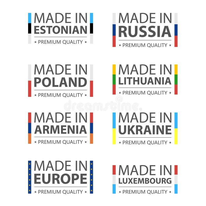 Logotipos simples del vector hechos en estonio, Rusia, polaco, Lituania, Armenia, Ucrania, Luxemburgo y Made en la unión europea stock de ilustración