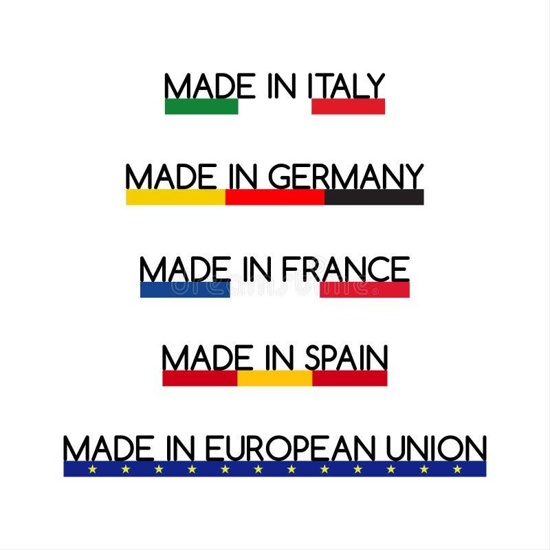 Logotipos simples do vetor feitos em Itália, feitos em Alemanha, feitos em França, feitos na Espanha e feitos na União Europeia ilustração do vetor