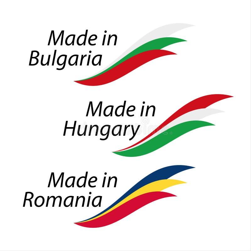 Logotipos simples feitos em Bulgária, feita em Hungria, feita em Romênia ilustração do vetor