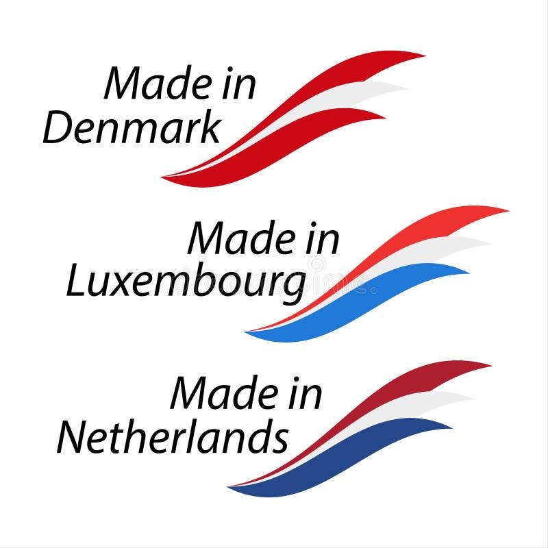 Logotipos simples feitos em Dinamarca, feita em Luxemburgo ilustração stock