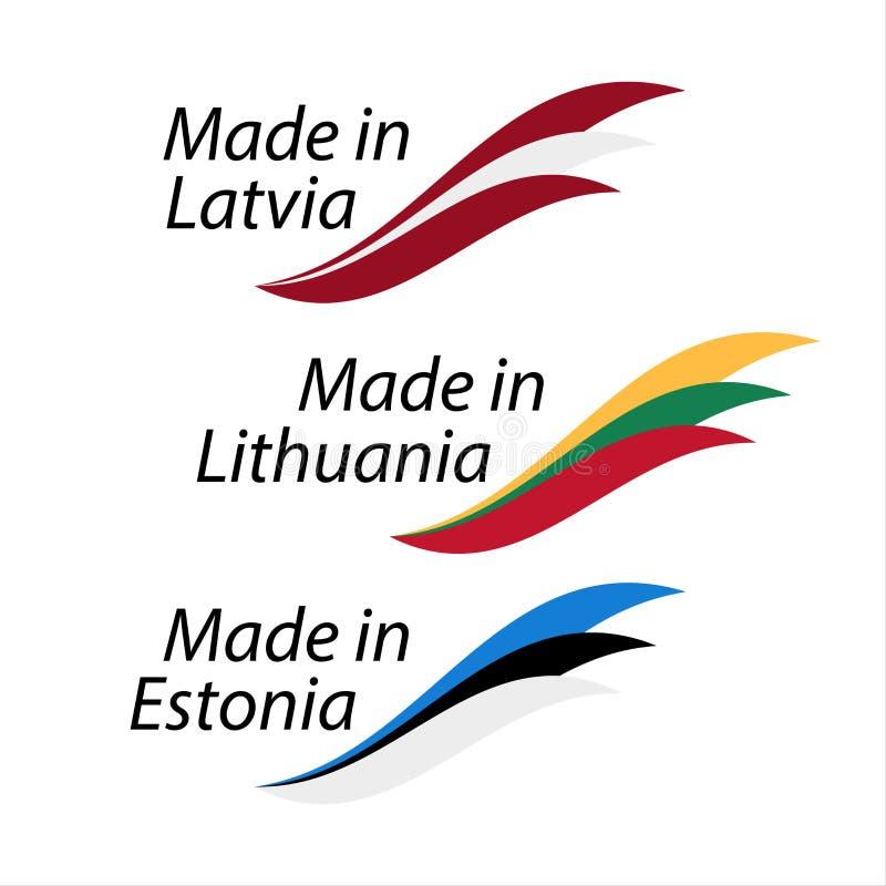 Logotipos simples feitos em Letónia, feito em Lituânia e Made em Eston ilustração royalty free