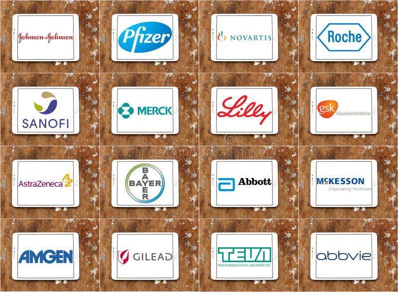 Logotipos superiores y marcas de las compañías farmacéuticas ilustración del vector