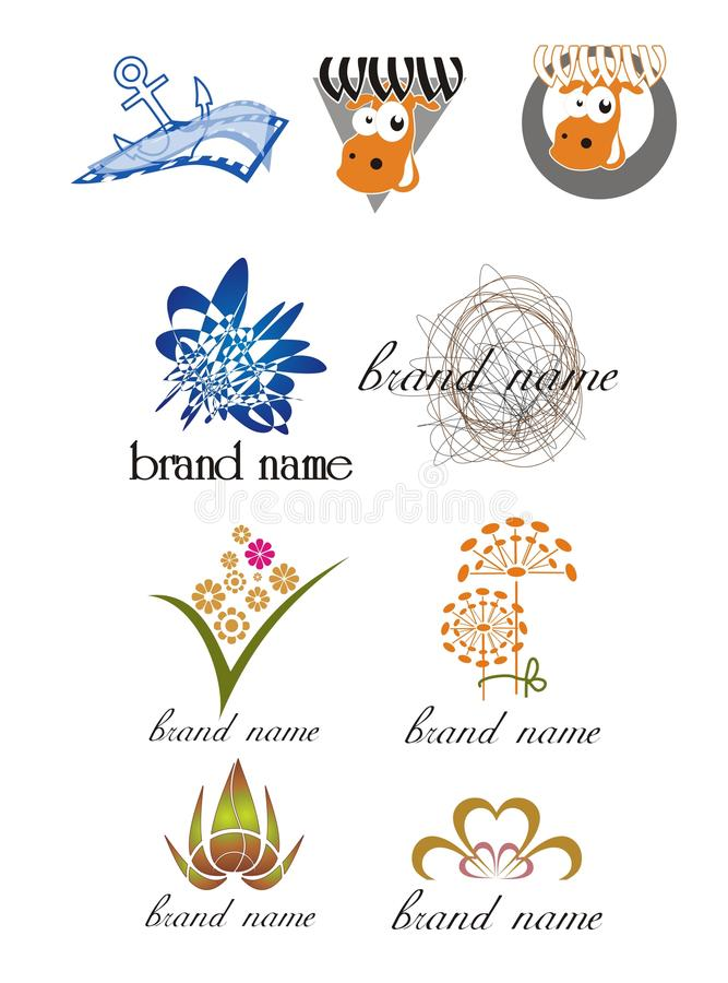 Logotipos universales para las compañías creativas imagenes de archivo