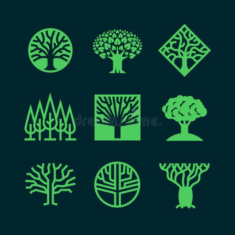 Logotipos verdes abstractos del árbol Insignias creativas del vector del bosque del eco stock de ilustración