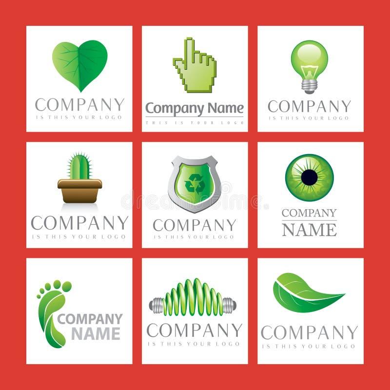 Logotipos verdes da companhia ilustração royalty free