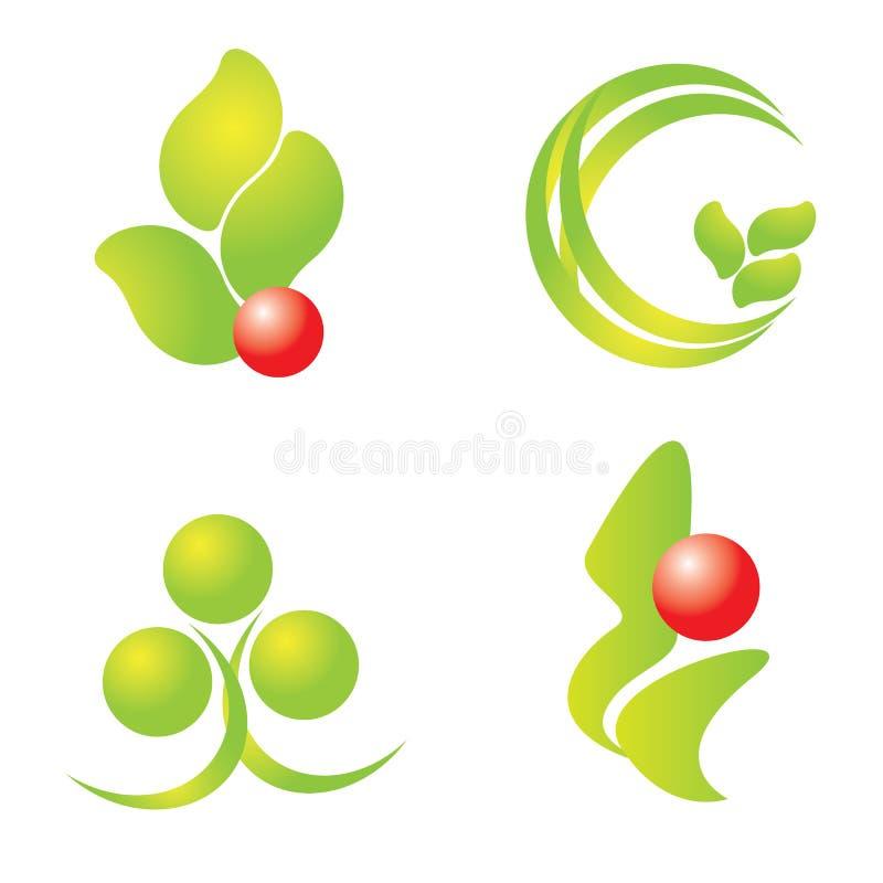 Logotipos verdes da natureza ajustados ilustração stock
