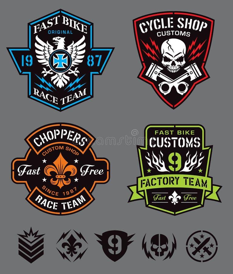 Logotipos y elementos de la insignia del motorista stock de ilustración