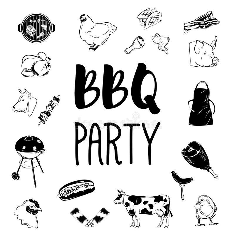 Logotipos y etiquetas del partido del Bbq Ejemplo del monocromo del vector stock de ilustración