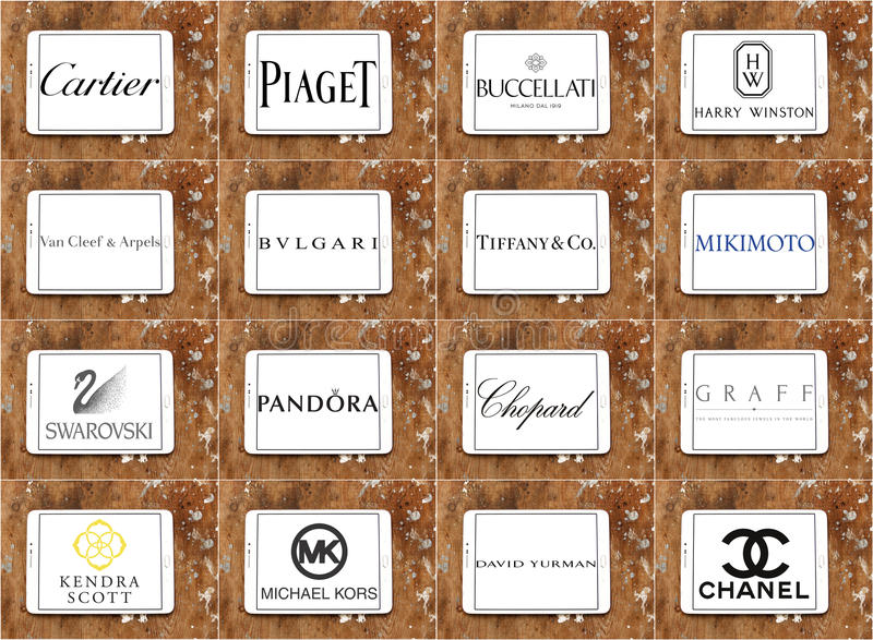 Logotipos y marcas famosos superiores de las compañías de la joyería fotos de archivo