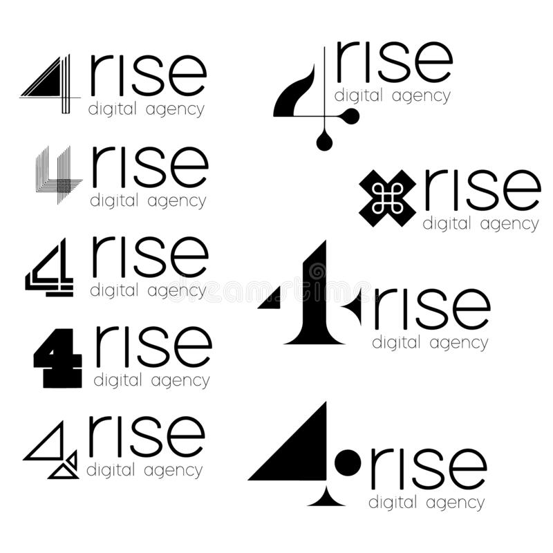 Logotyp dla twój projekta 4 wzrosta Set modny logo dla cyfrowej agenci ilustracji