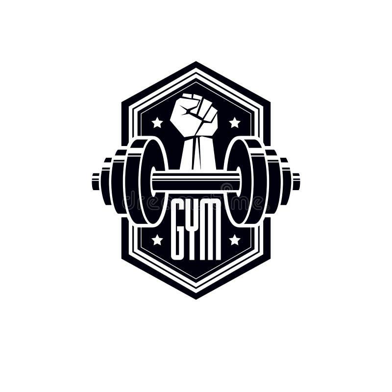 Logotyp dla wagi ciężkiej gym lub sprawności fizycznej sporta sala gimnastycznej, rocznika stylowy wektorowy emblemat royalty ilustracja